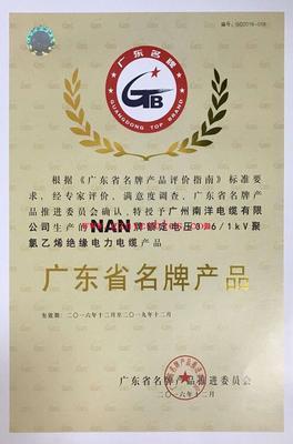 广东省名牌(0.6-1KV聚氯乙烯绝缘电力电缆)