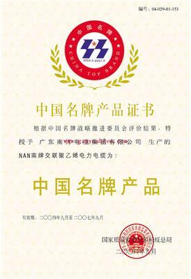 中国名牌产物证书