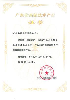广东省高新技术产物-220KV高新技术产物