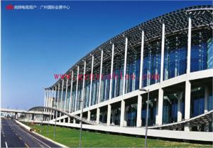 广州国际会展中心 Guangzhou International Convention and Exhibition Center 广州国际会议展览中心(琶洲展馆)是到2009年1月为止,亚洲最大的会展中心。广州国际会议展览中心首期占地41.4万平方米,建筑面积39.5万平方米,于2002年底正式投入使用。广州国际会议展览中心三期展馆将于第104届广交会启用