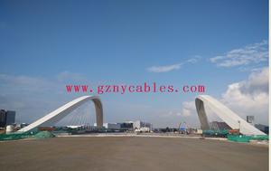 前海2号景观桥工程Qianhai scenery Bridge Project No. 2 Bridge 2号景观桥位于听海大道上,道路全长165m,桥梁为梁拱组合体系,跨径为70m,桥宽为45.5m,双向8车道,双向人行道。